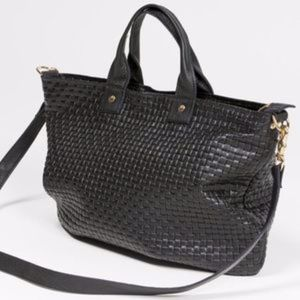 Clare V Women's Black Basket Weave Messenger Bag
